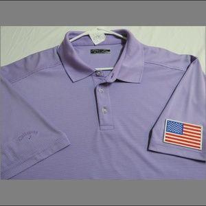 2XL Striped Callaway Golf USA Mens Poly #59E Polo